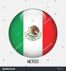 mexico flag circle shape transparentglossyglass button stock