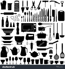 kitchen tool collection vector silhouette shutterstock idolza