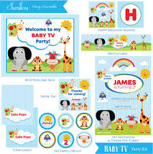 customized baby items customized baby tv birthday invitation and party kit party kit