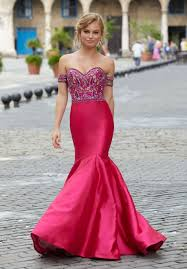 form fitting larissa satin mermaid prom dress with floral