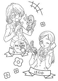 pretty cure funny anime coloring pages for kids printable free