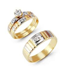 gold wedding rings sets for him and 14k tri color gold cut cz ribbed wedding ring set trio