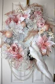 details about shabby victorian pink white cherub feather christmas