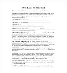 10 sublease agreement templates u2013 free sample example format