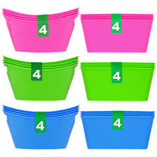 bulk colorful mini plastic storage bins 4 ct packs at dollartree
