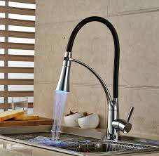 led kitchen faucets led light chrome and black pipe kitchen faucet pull steam