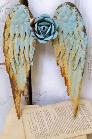 295 best for the home images on pinterest metal angel wings wall sculpture shabby chic rusty blue distressed cottage home decor anita spero