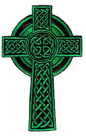 celtic crucifix celtic cross iron on patch green embroidered relgious