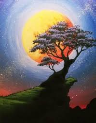 really cool forest and moon painting with fireflies beginner