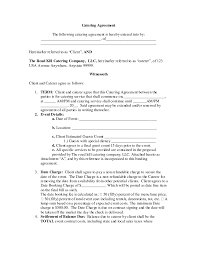 nice blank contract agreement form sample for catering with term
