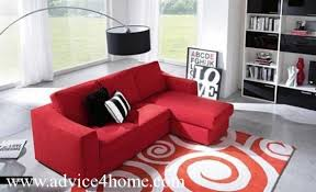 Carpet In Living Room by Red Sofa And Red Motif Carpet In Living Room Design