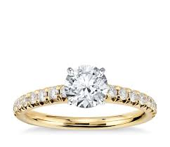 yellow gold diamond rings pavé diamond engagement ring in 14k yellow gold 1 4 ct tw