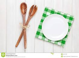 Wooden Kitchen Table Background Empty Plate And Kitchen Utensils Over Wooden Table Background