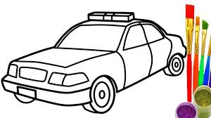draw police car coloring kids learn color car