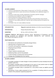 Tool And Die Maker Resume Examples by Tool Die Maker Resume Sample