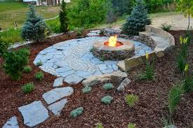 rustic landscaping ideas landscape rustic with stone fire pit
