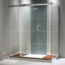 bathroom mosaic tile wall shower with white bathtub modern
