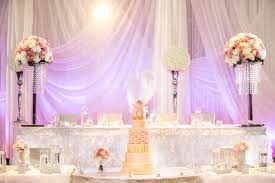 a romantic reception decoration with ruffles and crystals