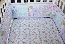 Teal And Purple Crib Bedding 7 Piece Newborn Baby Crib Bedding Set For Girls Cotton Reactive
