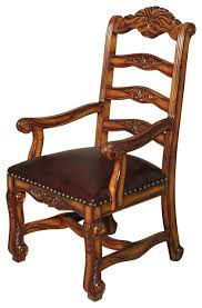 High Armchairs Solid Mahogany High Ladder Back Leather Occasional Arm Chair