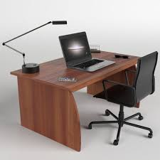 Laptop Chair Desk 3d Asset Office Desk With Chair And Laptop Cgtrader
