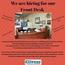 front desk jobs hiring now expressemploymentlagunahills hashtag on twitter