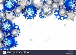 corner border of blue and silver ornaments isolated on a