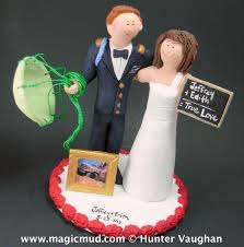 teacher bride marries paratrooper groom wedding cake topper