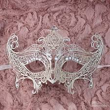 buy masquerade masks white laser cut metal mask prom masks glitter sequins masquerade