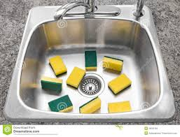 Lots Of Yellow Sponges In A Clean Kitchen Sink Stock Photos - Cleaning kitchen sink