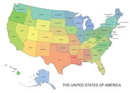 map usa states names vector map of the usa with state names stock illustration image