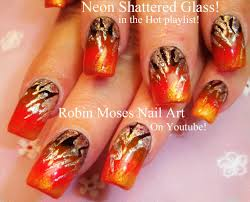 nail art tutorial diy halloween nails shattered glass nail