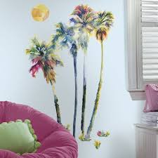 amazon com palm tree with birds wall art vinyl sticker decal amazon com palm tree with birds wall art vinyl sticker decal roommates rmk2782gm watercolor trees peel stick giant decals