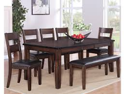7pc Dining Room Sets Crown Mark Maldives 7 Piece Table Chair U0026 Bench Dining Set Del