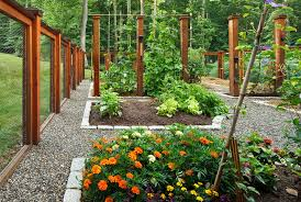 vegetable garden fence ideas landscape traditional with bark mulch