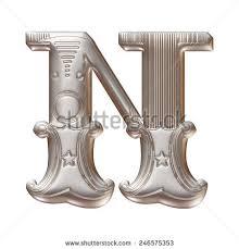3d silver metallic illustration alphabet stock