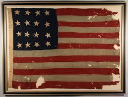 Old Flag Usa Lot 80 Sixteen Star American Flag Framed