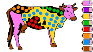 cow coloring pages for kids drawing cow learning colours youtube