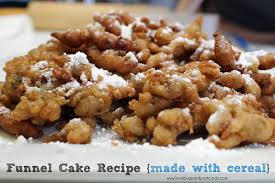 funnel cake recipe made with cereal lovebugs and postcards