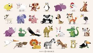cartoon domestic and wild animals pack vector download