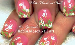 easy diy white spring flower nail art design tutorial youtube