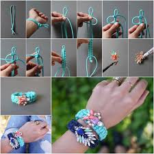 diy paracord bracelet instructions images Wonderful diy jeweled embellished macrame bracelet jpg