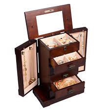 Jewellery Organiser Cabinet Wood Jewelry Box Ebay