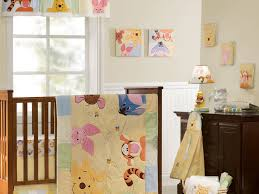 beautiful girls bedding kids room interior brown wooden cradle with winnie the pooh