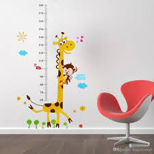 cute giraffe monkey height ruler wall decal stickers removable pvc material pvc size