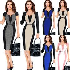 optical illusion dress womens optical illusion contrast belted work office business party