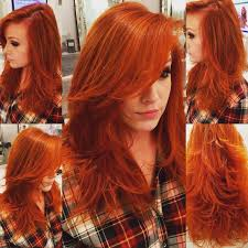 gorgeous carrot red long straight hair with tons of layers long