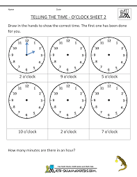 telling the time to 1 minute sheet 2 write in the correct