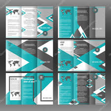 corporate tri fold brochure template design with triangles