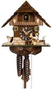 hones chalet style one day cuckoo clock cottage with man drinking beer